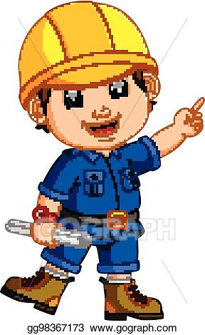 Vector wearing helmet and. Architect clipart cute