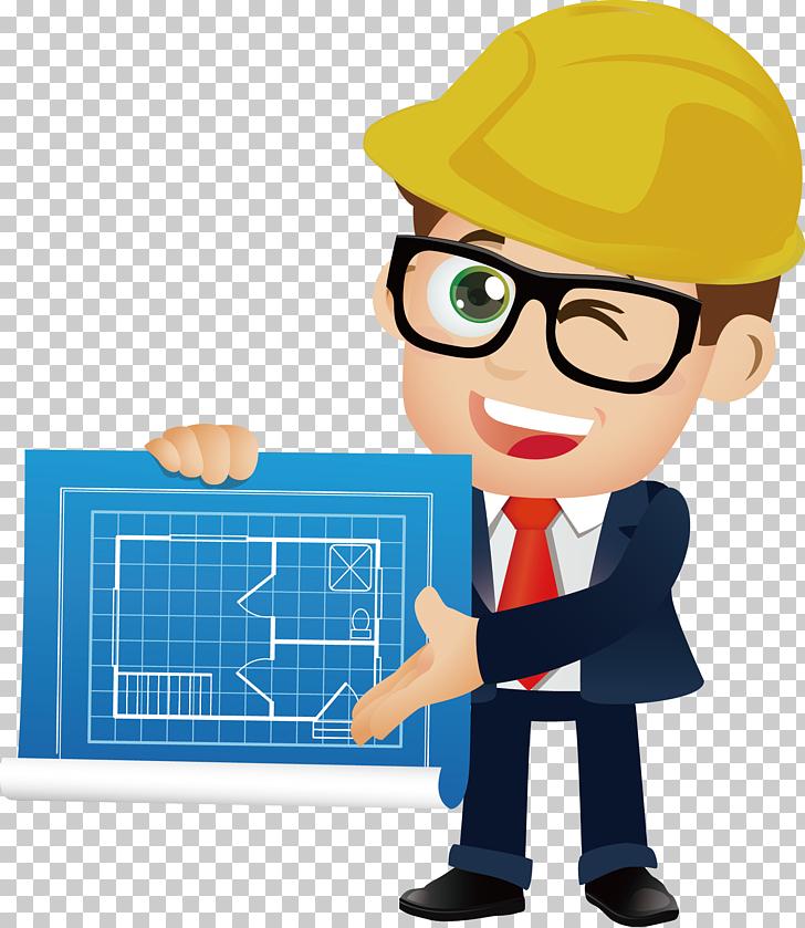 Architectural engineering cartoon man. Architect clipart engineer