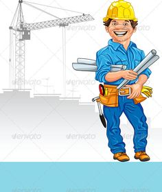 Working at the construction. Architect clipart engineer