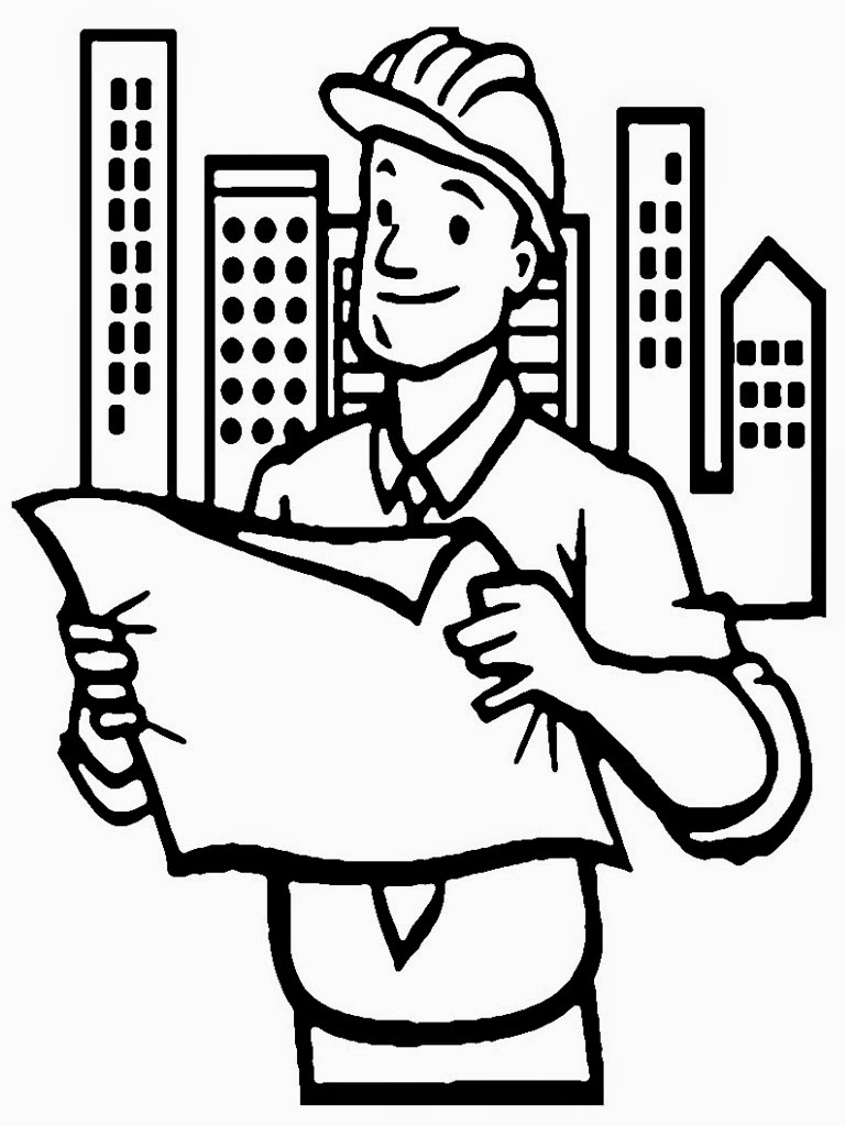 Engineering page for kids. Architect clipart engineer