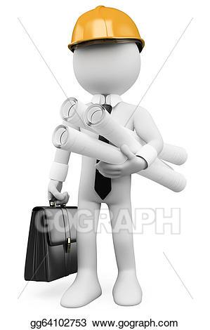 Architect clipart engineering team. Stock illustration d white