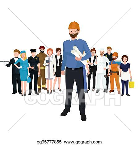 Eps vector civil architect. Engineer clipart group engineer