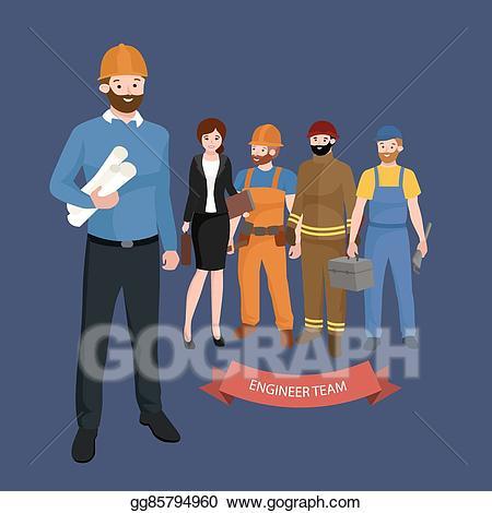 Architect clipart engineering team. Eps vector civil engineer