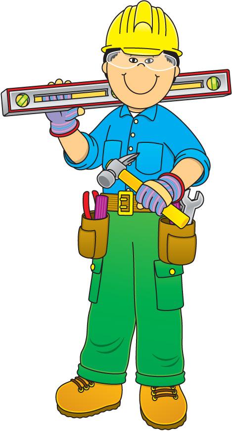 Construction worker laborer architectural. Carpentry clipart maintenance man