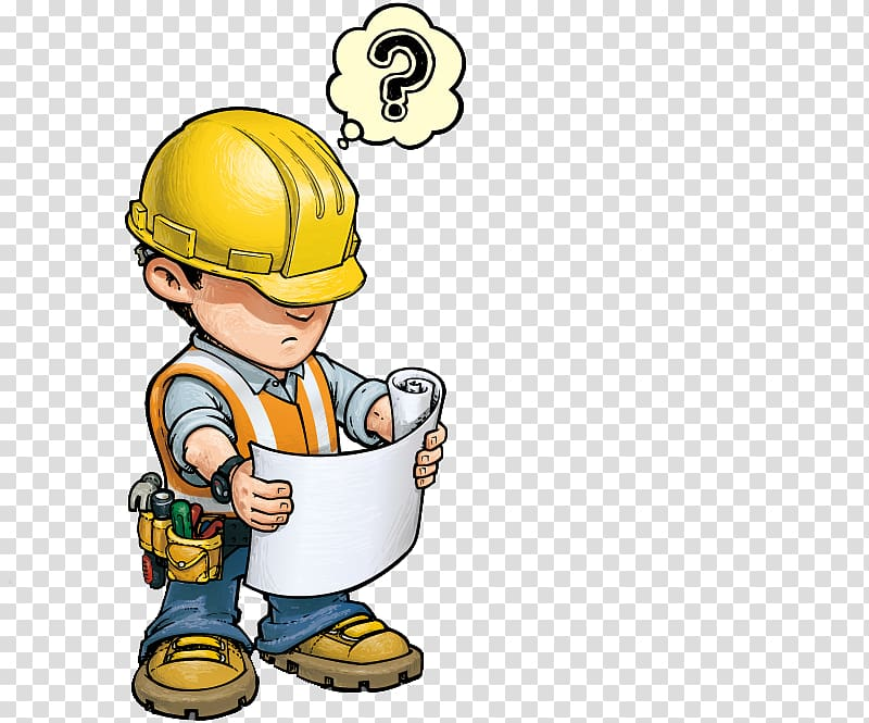 Construction worker holding paper. Engineer clipart work clipart