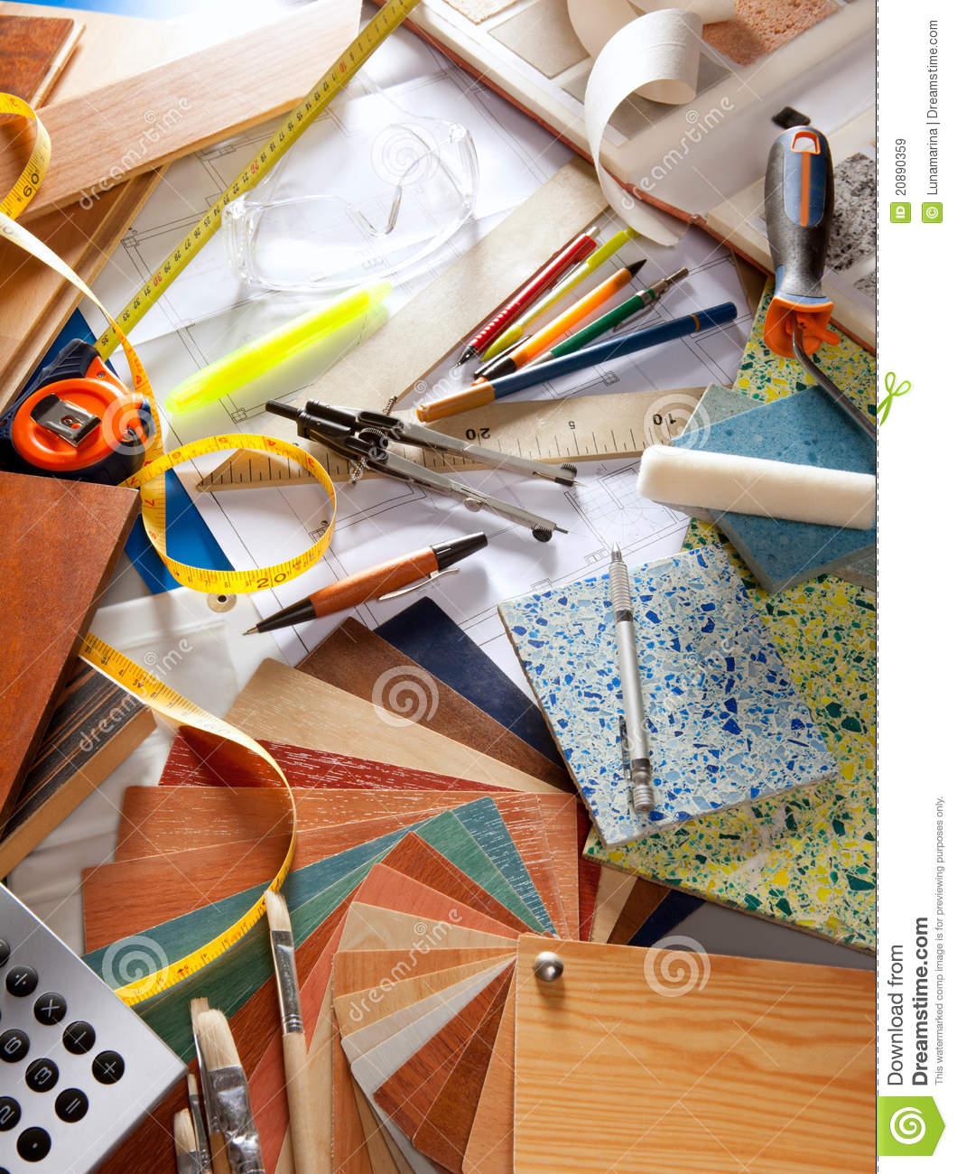 Tools desk designer workplace. Architect clipart interior decorator