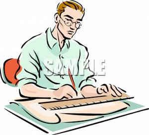An drawing up blueprints. Architect clipart kid