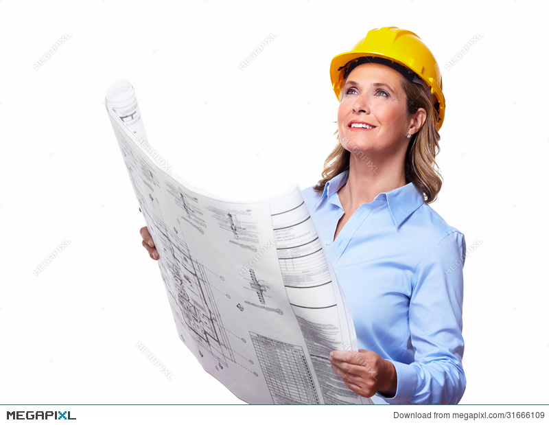 Woman with a plan. Architect clipart lady