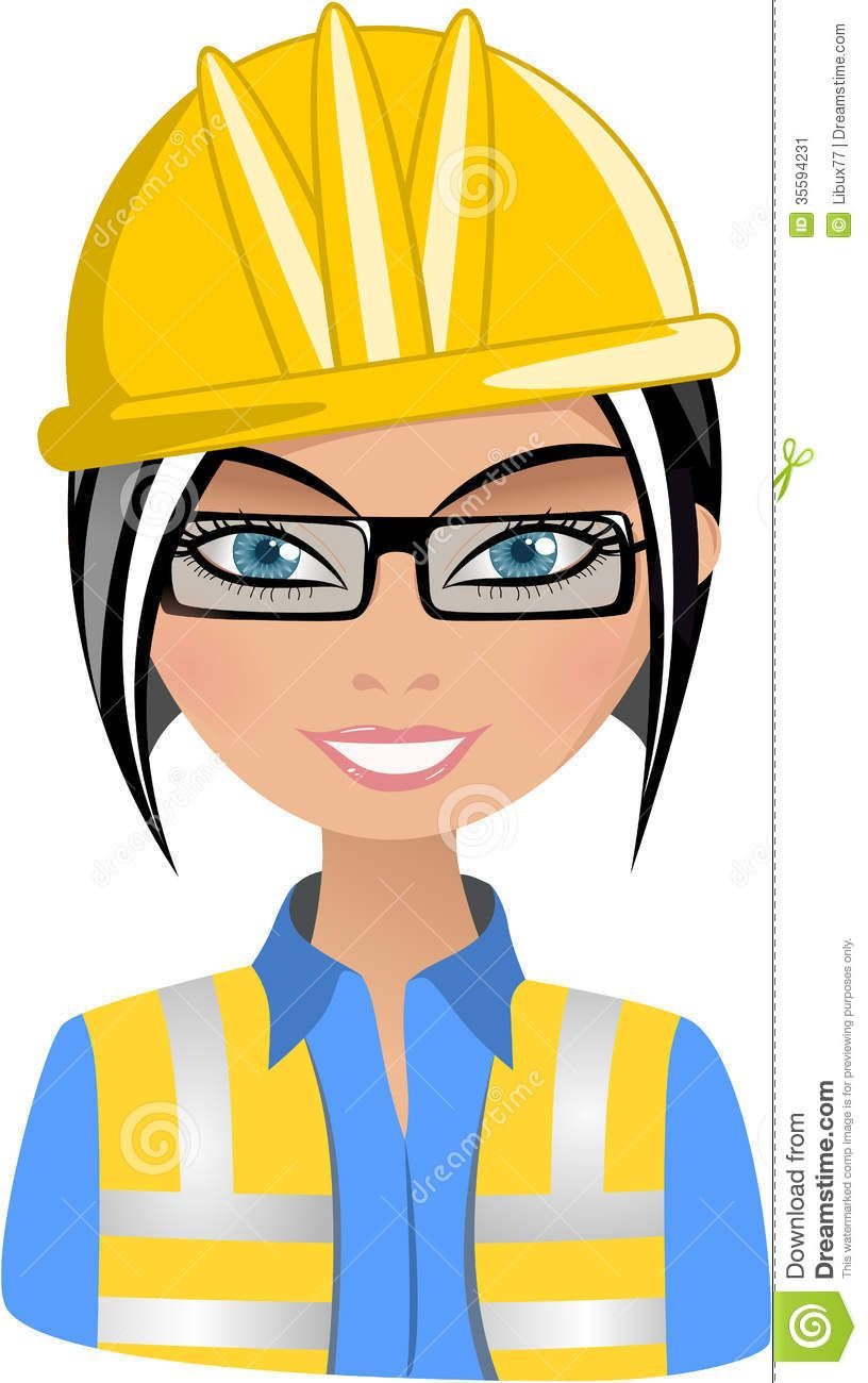 Architect clipart lady. Female engineer smiling woman