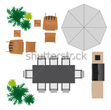 Outdoor furniture for design. Architect clipart landscape architect