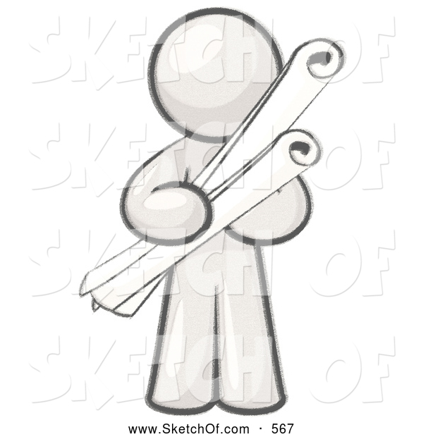 Drawing of a sketched. Architect clipart male architect