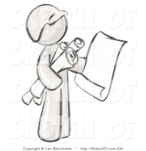 Drawing of a sketched. Architect clipart man