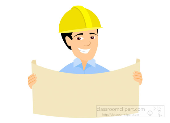 Architect clipart occupation. At site with blueprint