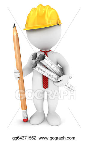 Drawing d white people. Architect clipart person