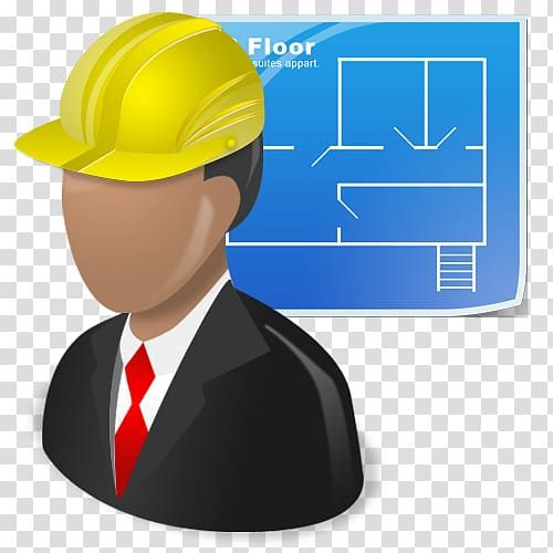Man wearing yellow hardhat. Architect clipart person
