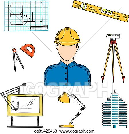 Vector art or engineer. Architect clipart project
