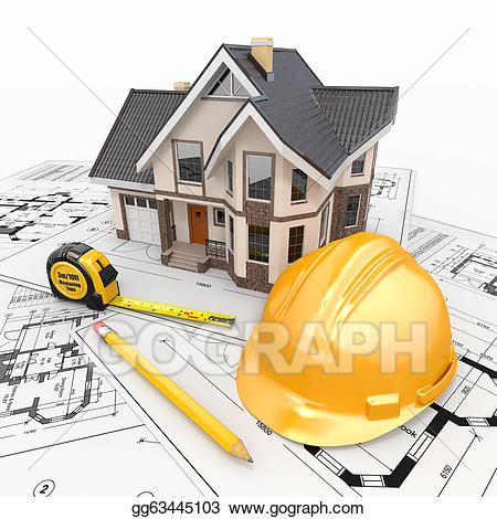 Architect clipart project. Stock illustration residential house