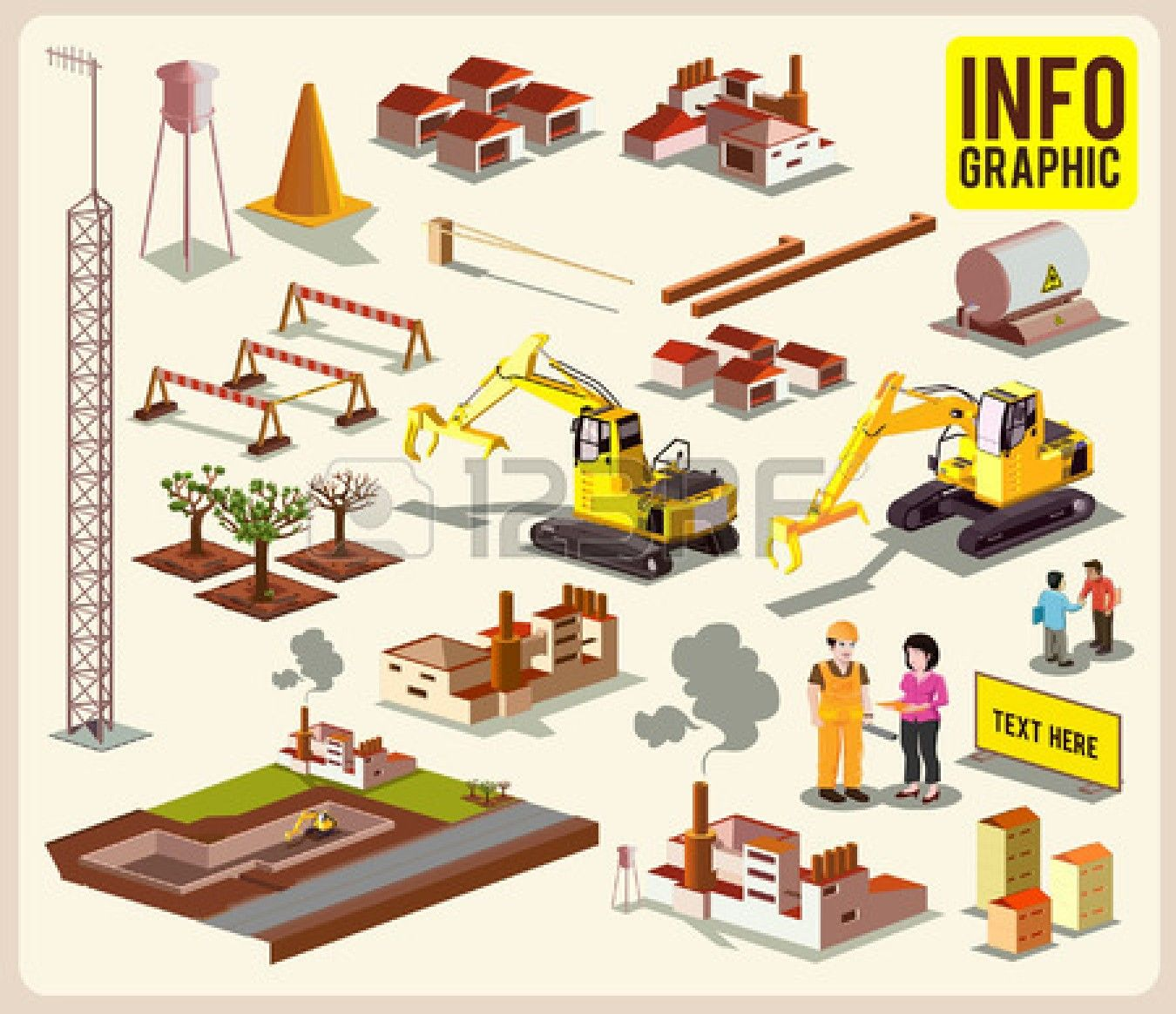 Construction info graphic detailed. Architect clipart project