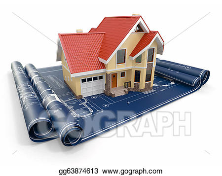 Stock illustration residential house. Architect clipart project