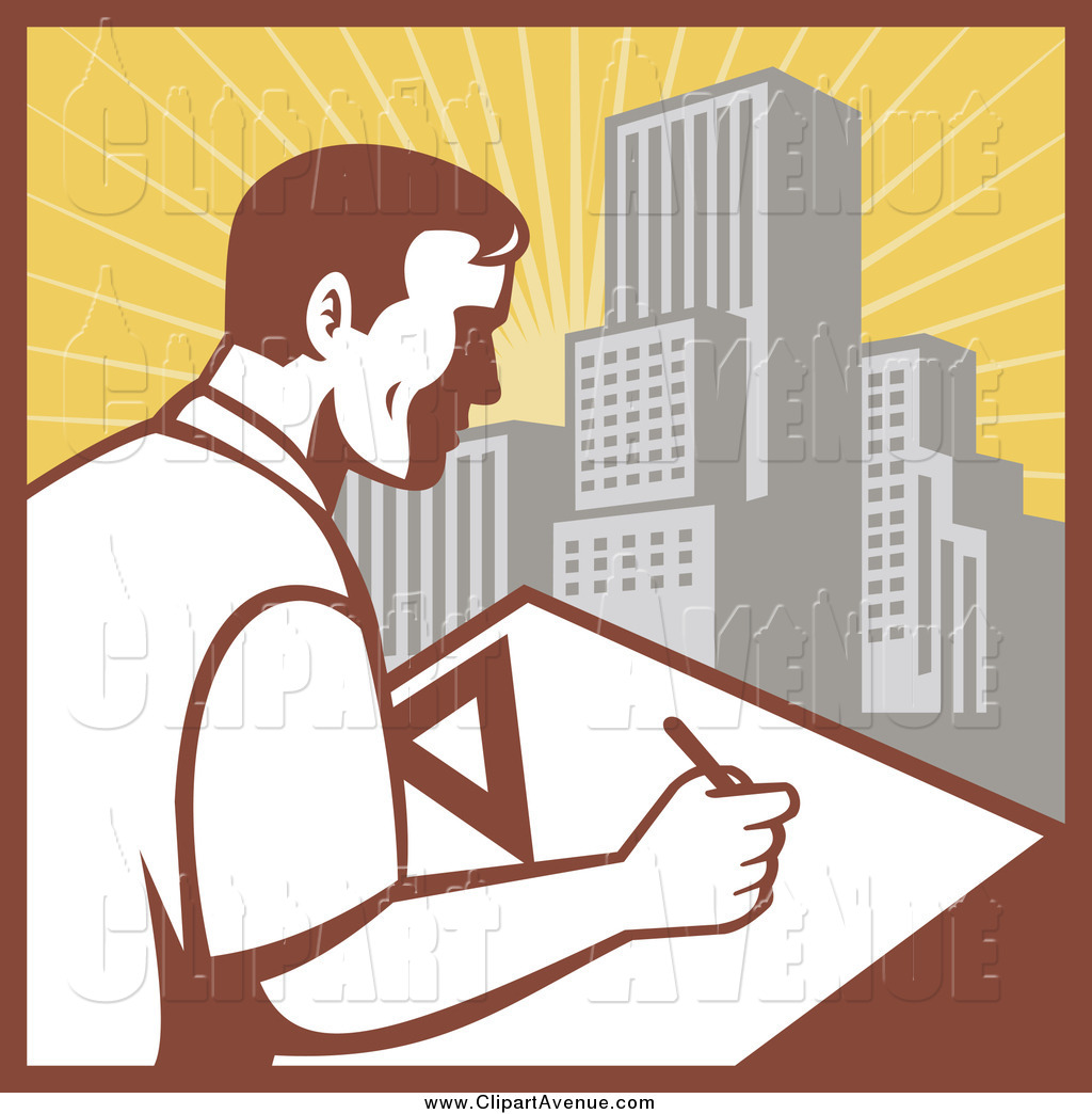 Avenue of a male. Architect clipart technical drafting