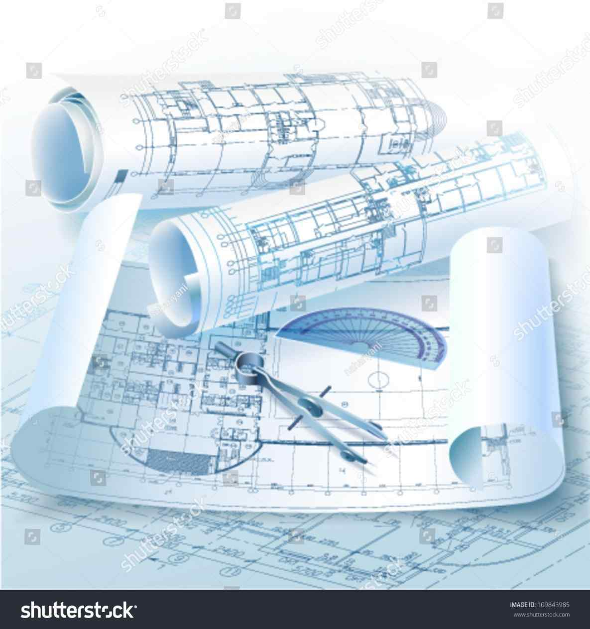 Pencil and in color. Architect clipart technical drawing