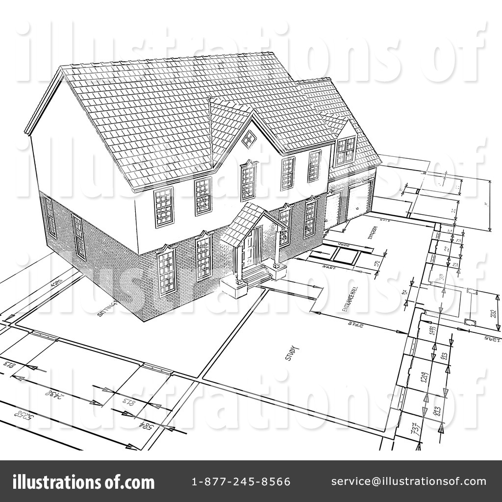 Architecture illustration by kj. Architect clipart technical drawing