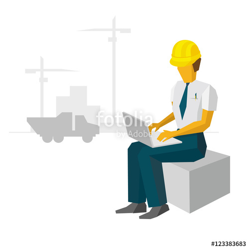 Engineer builder with laptop. Architect clipart work clipart