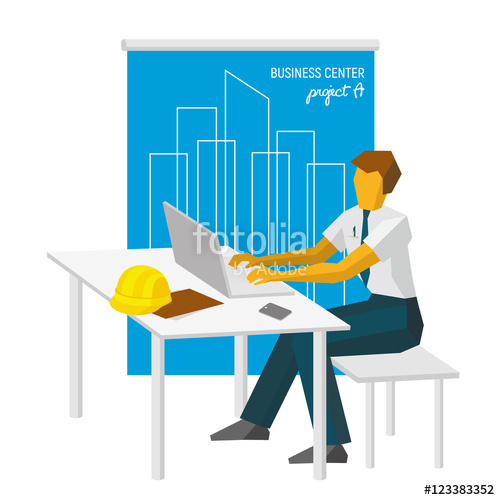 Architect clipart work clipart. With laptop big blueprint