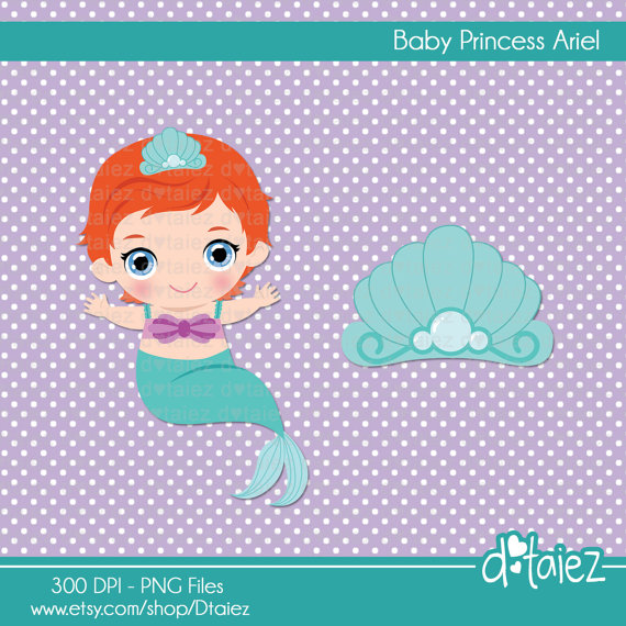 Baby clipart mermaid. Items similar to princess