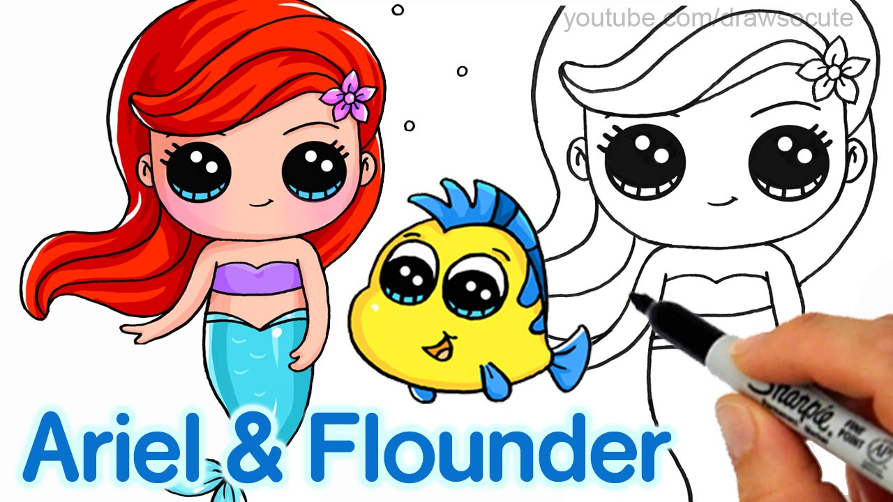 How to draw little. Ariel clipart easy