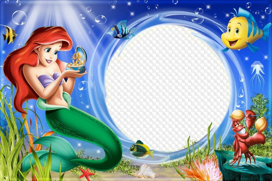 Ariel clipart frame. Childrens sea for a