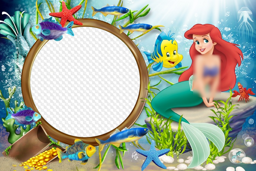 Sea with the little. Ariel clipart frame