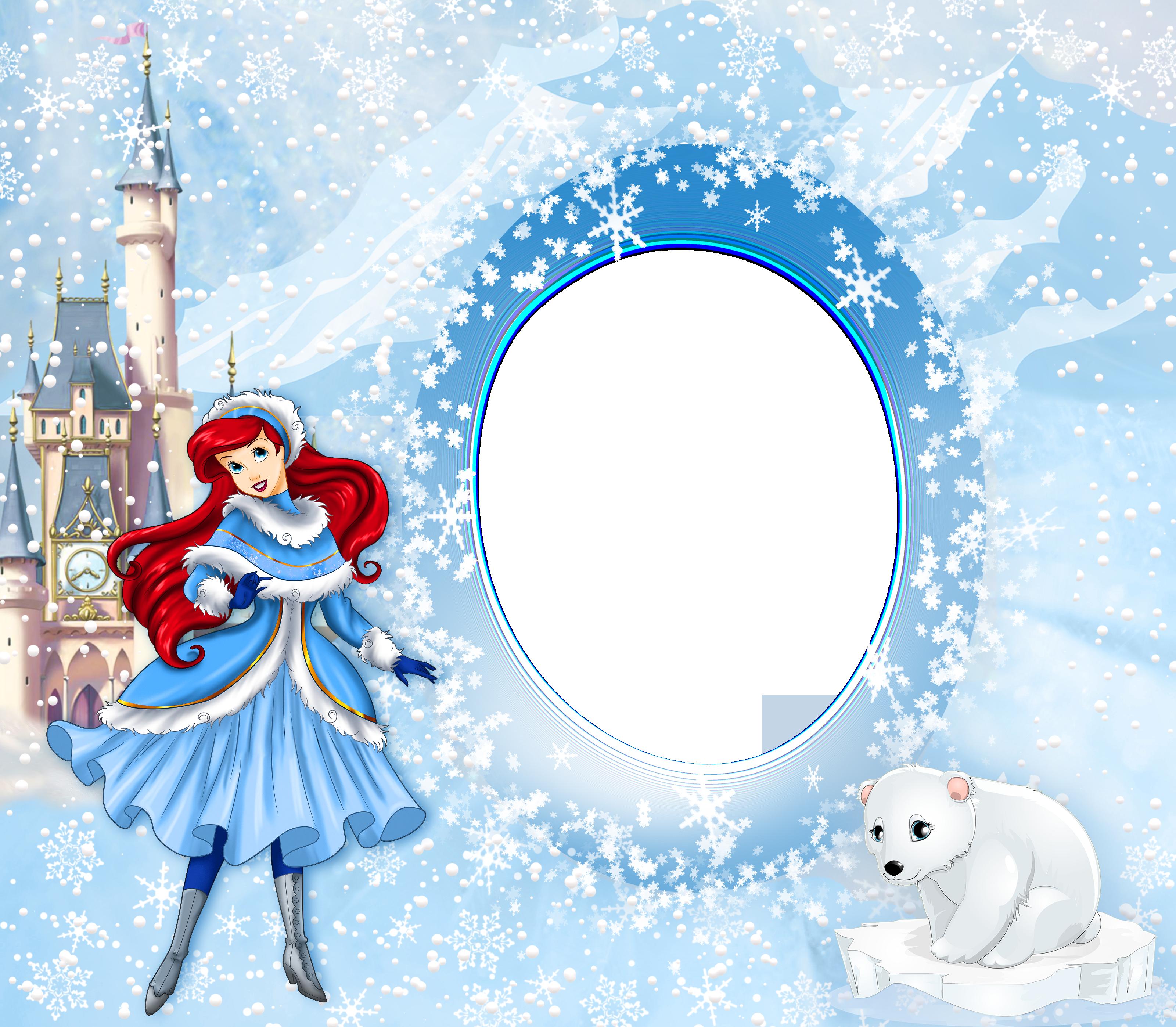 Ariel clipart frame. Princess winter png kids
