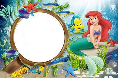Ariel clipart frame. Sea with the little