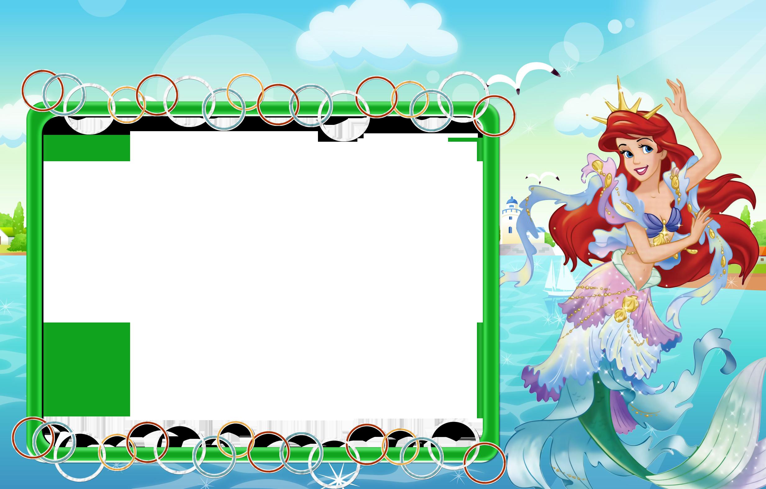 Kids transparent with princess. Ariel clipart frame