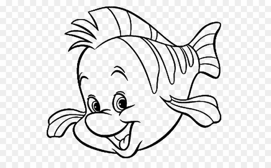 Little mermaid flounder coloring. Ariel clipart line
