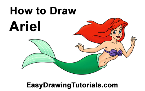 How to draw ariel. Body clipart mermaid