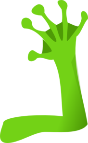 Frog green right arm. Arms clipart alien