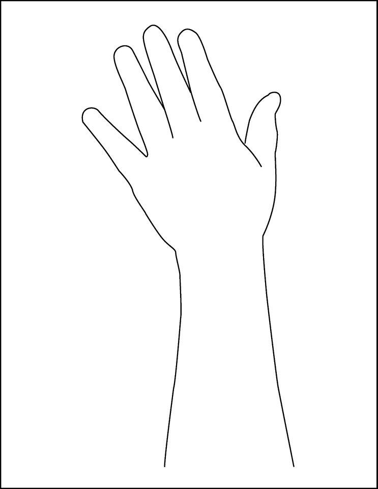 Handprint template hand and. Arm clipart arm outline