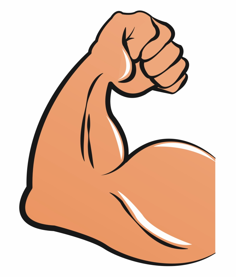 Muscular arms cartoon biceps. Muscle clipart arm logo