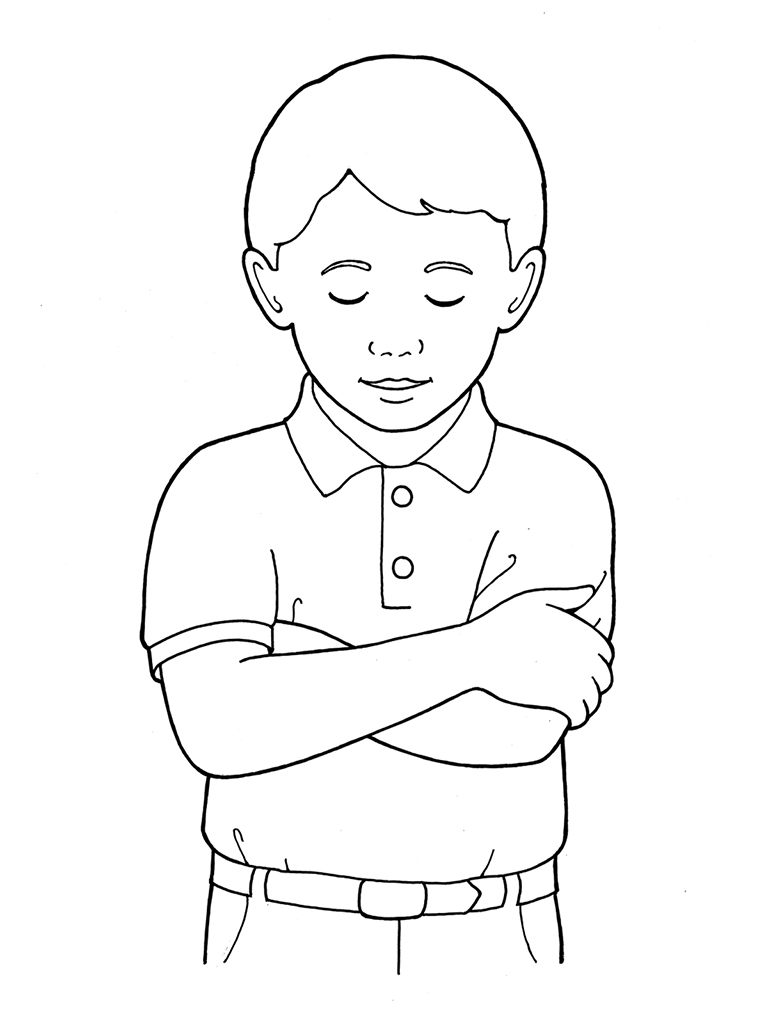 Primary boy folding and. Arms clipart two