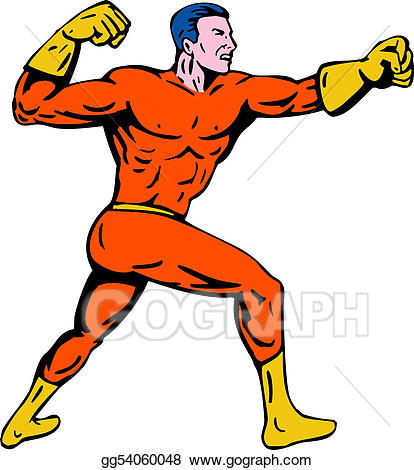 Stock illustration punching to. Boots clipart superhero