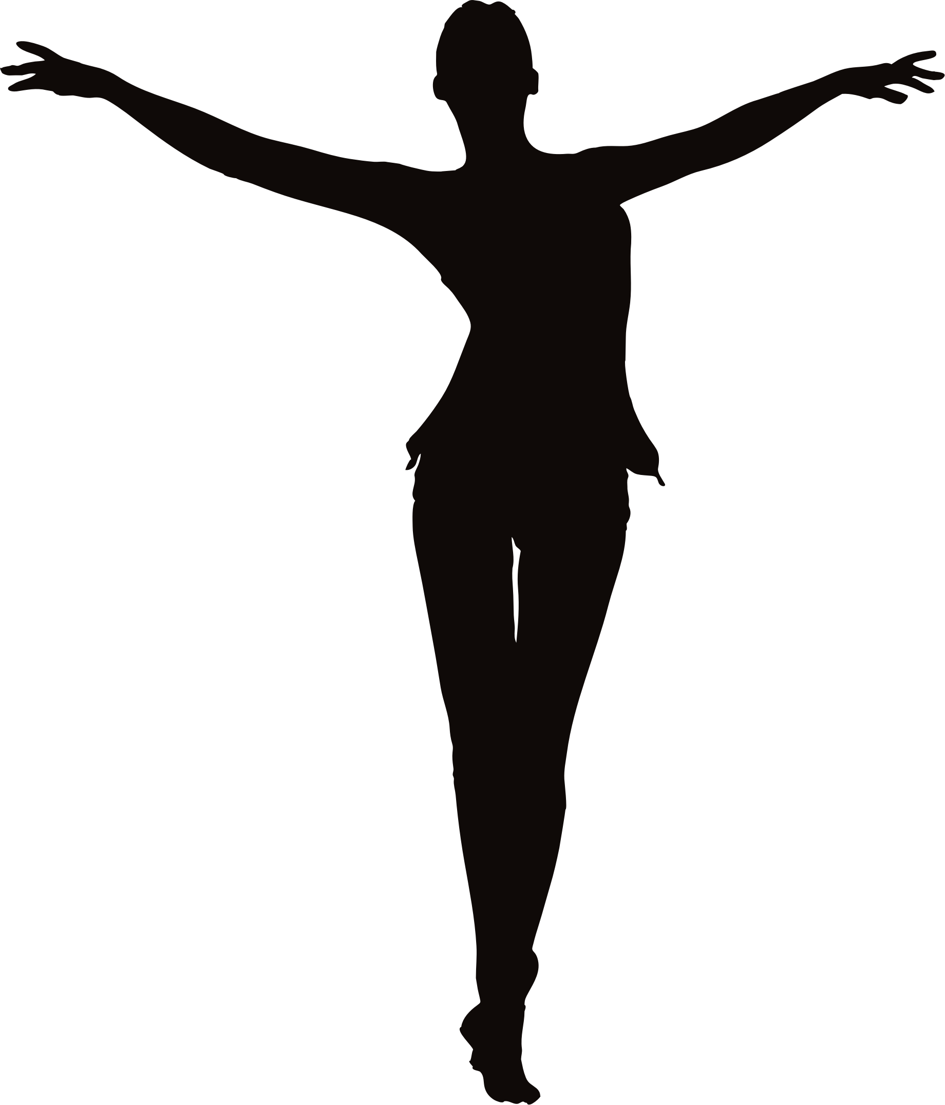 Woman with outstretched big. Arms clipart silhouette