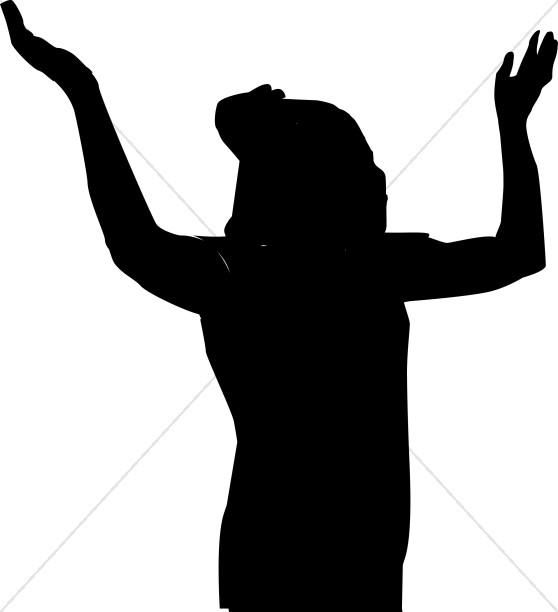 Arms clipart silhouette. Female praising praise