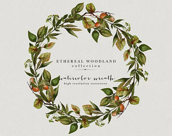 Arm clipart twig. Wreath etsy watercolor greenery