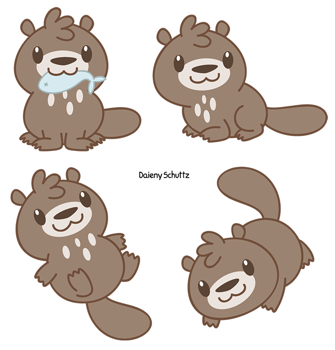 Armadillo clipart chibi. Giant river otter by