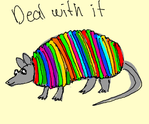 A colorful armadillo with sunglasses