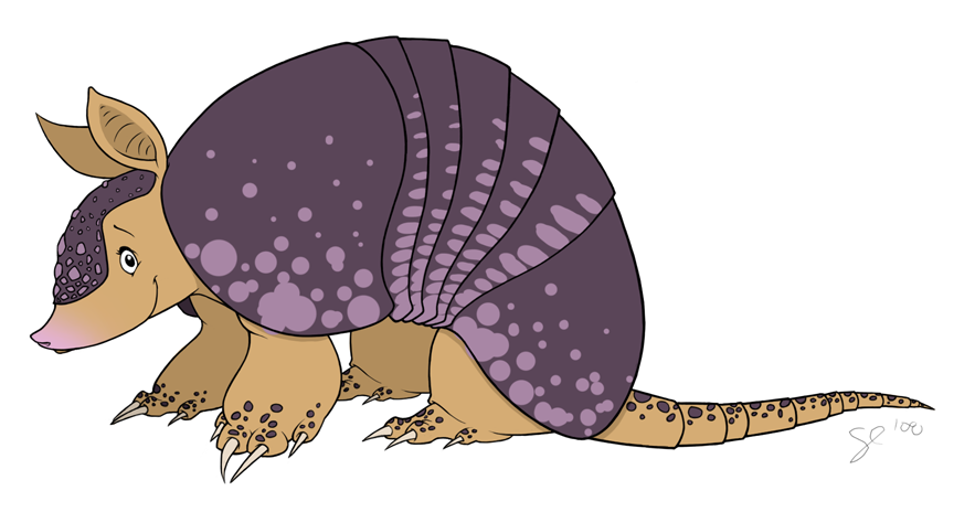 Character design by shayfifearts. Armadillo clipart colorful