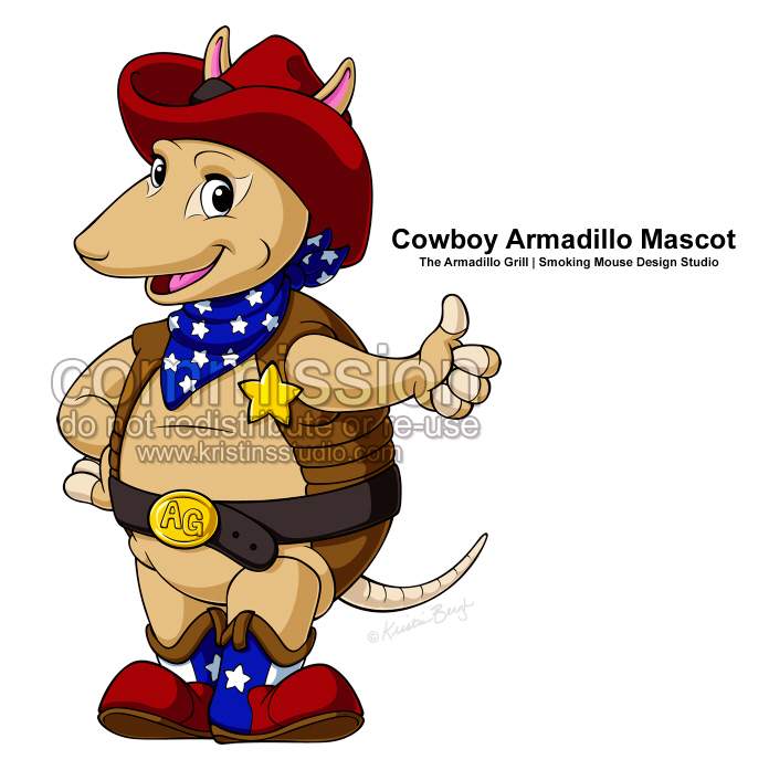 Grill mascot final by. Armadillo clipart cowboy
