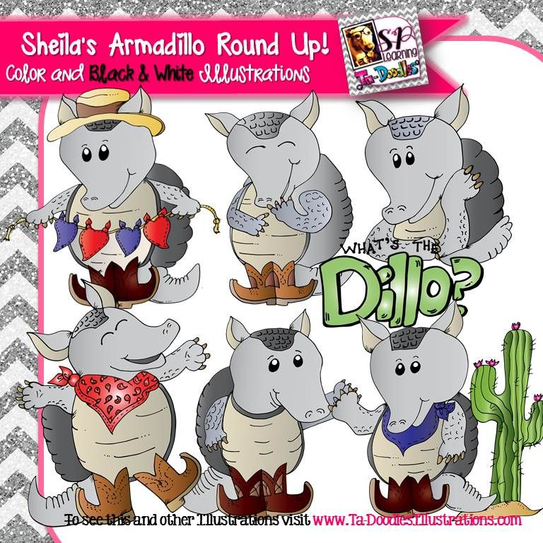Sheila s round up. Armadillo clipart cowboy